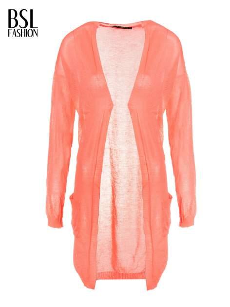 Koralowy długi sweter typu kardigan z kieszonkami                                  zdj.                                  5