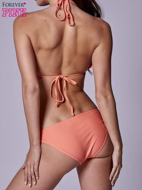 Koralowy stanik od bikini wiązany na szyi z kokardkami na miseczkach                                  zdj.                                  2