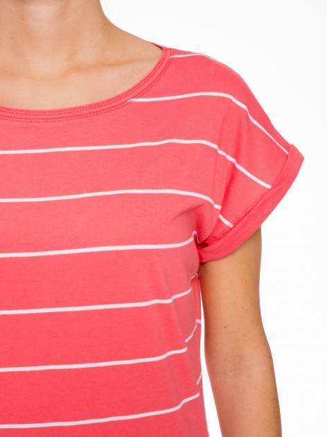 Koralowy t-shirt w paski                                   zdj.                                  6