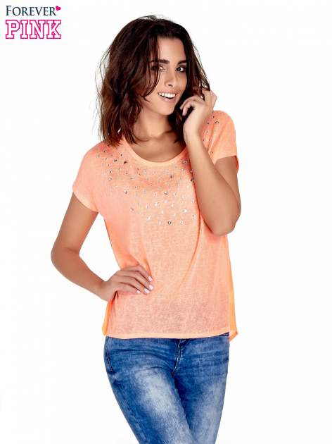 Koralowy t-shirt z kryształkami                                  zdj.                                  1