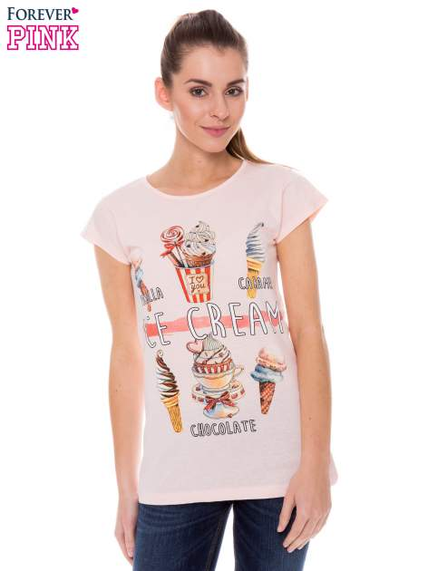 Koralowy t-shirt z nadrukiem ICE CREAM                                  zdj.                                  1