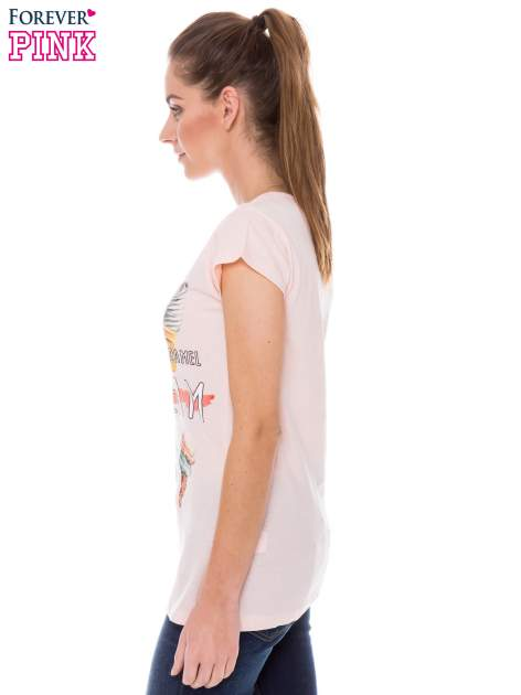 Koralowy t-shirt z nadrukiem ICE CREAM                                  zdj.                                  3