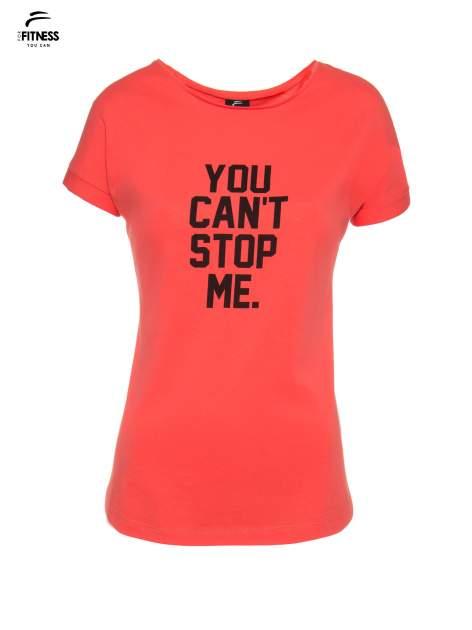 Koralowy t-shirt z nadrukiem tekstowym YOU CAN'T STOP ME                                  zdj.                                  2