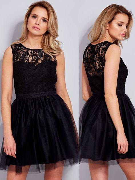 Koronkowa sukienka czarna z tiulowym dołem                              zdj.                              1