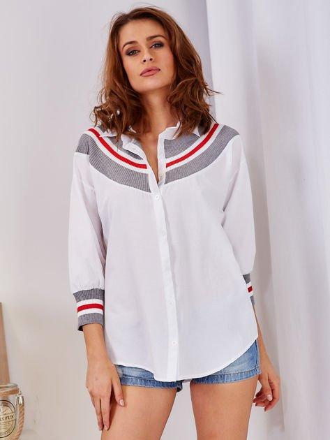 Koszula biała ze ściągaczem                                  zdj.                                  1