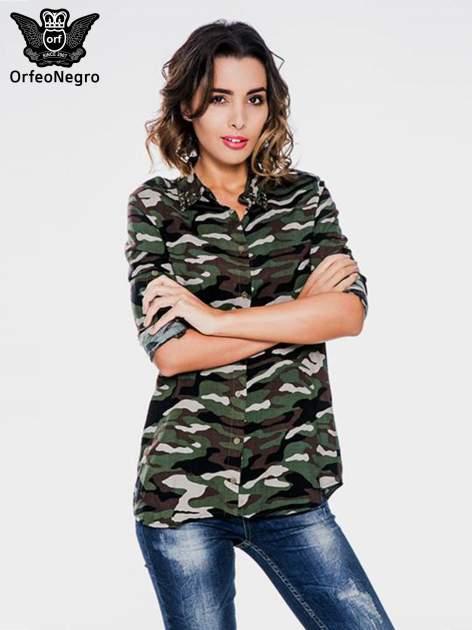 Koszula damska we wzór moro z ćwiekami na kołnierzyku                                  zdj.                                  1