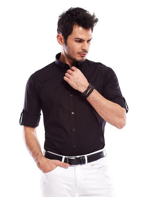 Koszula męska czarna slim fit                              zdj.                              1