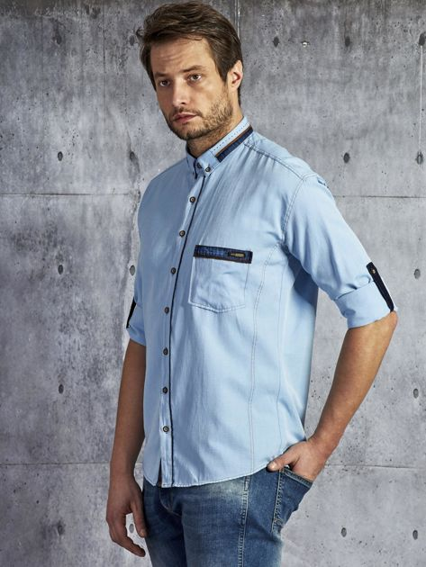 Koszula męska z kieszenią jasnoniebieska PLUS SIZE                              zdj.                              2