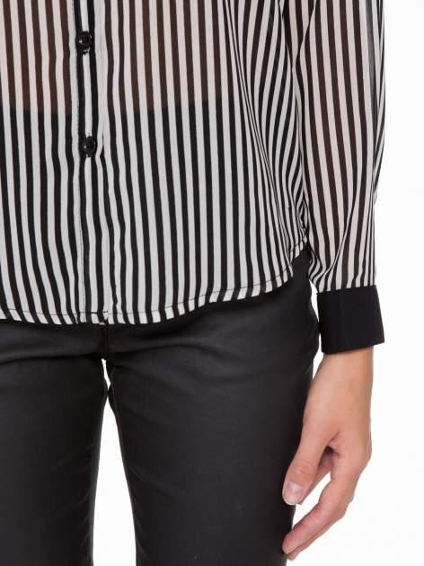 Koszula mgiełka w paski z kontrastową kieszonką, mankietami i kołnierzykiem                              zdj.                              11