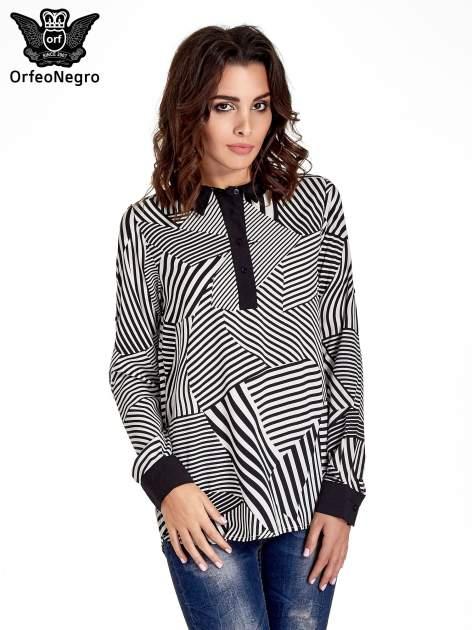 Koszula w zebrę z kontrastowymi mankietami i listwą                                  zdj.                                  1
