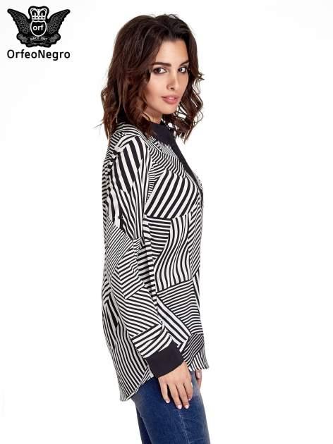 Koszula w zebrę z kontrastowymi mankietami i listwą                                  zdj.                                  3