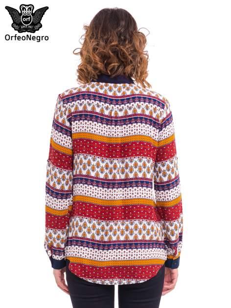 Koszula z biżuteryjnym kołnierzykiem we wzór patchworkowy                                  zdj.                                  3