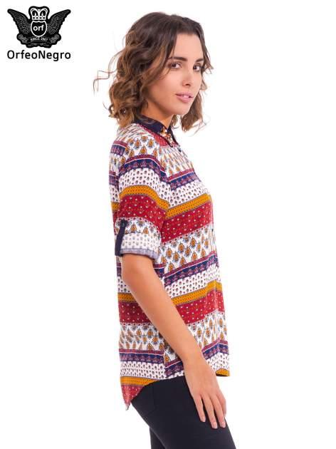 Koszula z biżuteryjnym kołnierzykiem we wzór patchworkowy                                  zdj.                                  4