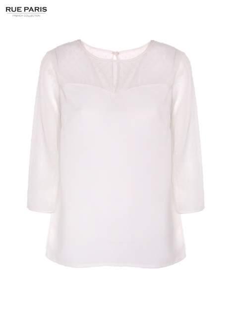 Koszula z przezroczystym materiałem w groszki w kolorze ecru