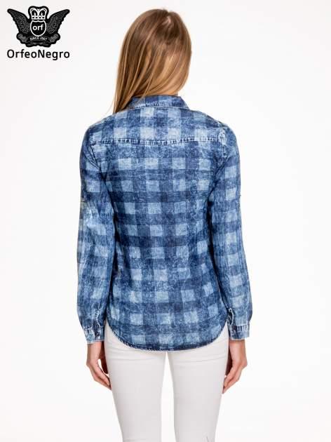 Kraciasta marmurkowa koszula z jeansu                                  zdj.                                  4
