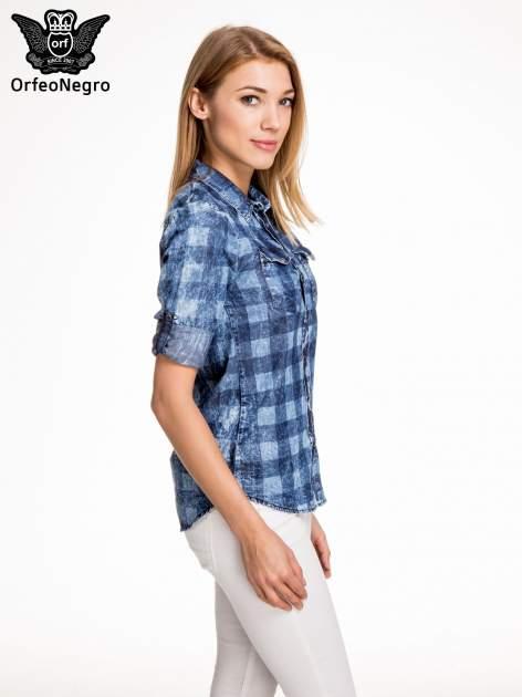 Kraciasta marmurkowa koszula z jeansu                                  zdj.                                  5