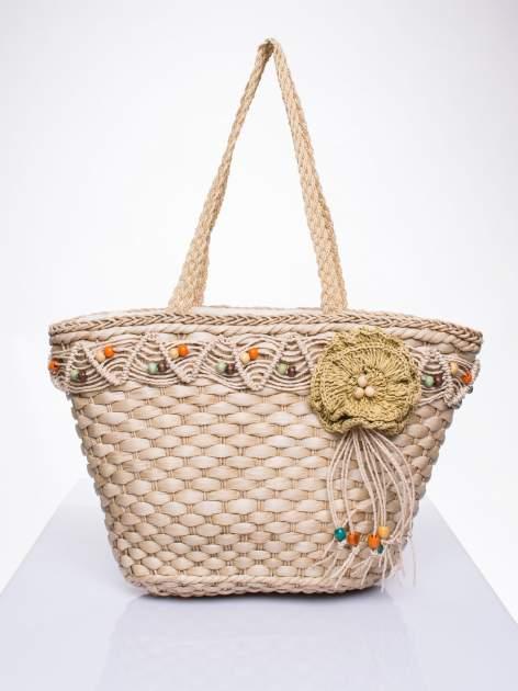 Kremowa torba koszyk plażowy z frędzlem                                  zdj.                                  1