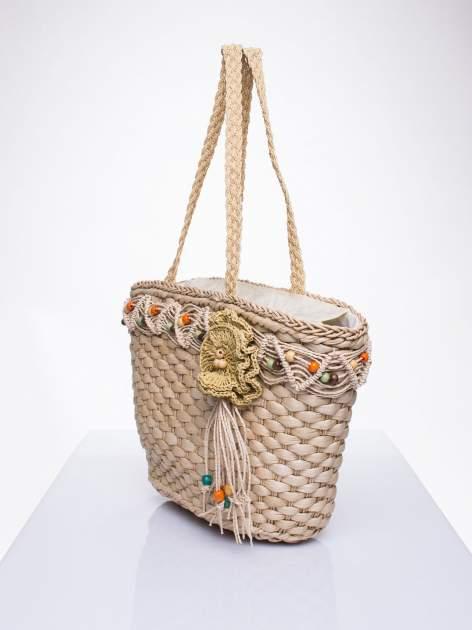 Kremowa torba koszyk plażowy z frędzlem                                  zdj.                                  2