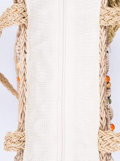 Kremowa torba koszyk plażowy z frędzlem                                  zdj.                                  5