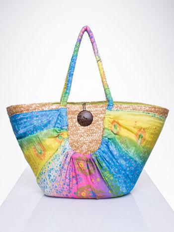 Kremowa torba koszyk plażowy z łączonych materiałów                                  zdj.                                  1