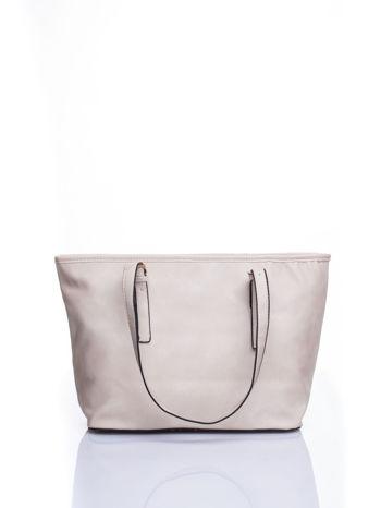 Kremowa torba shopper bag z regulowanymi rączkami                                  zdj.                                  3