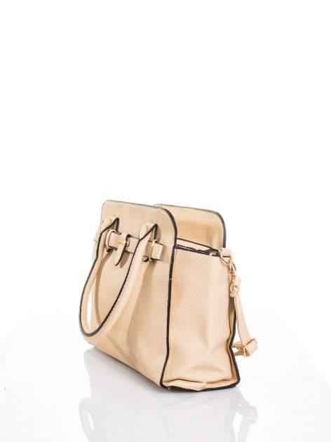 Kremowa torba z klamrami z odpinanym paskiem                                  zdj.                                  3