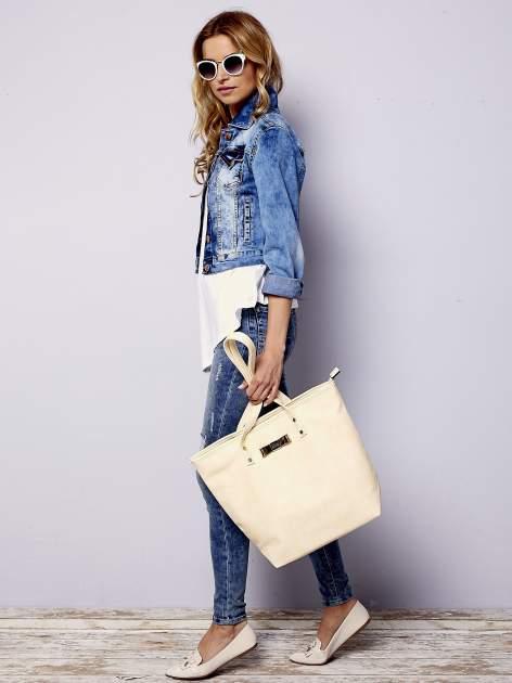 Kremowa torebka shopper bag z kokardką                                  zdj.                                  2