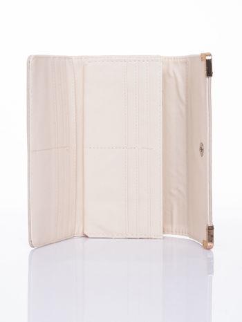Kremowy dziurkowany portfel ze złotym wykończeniem                                  zdj.                                  4