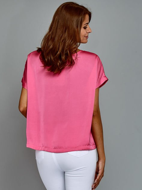 Krótki t-shirt oversize różowy                                  zdj.                                  2