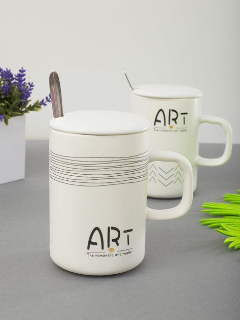 Kubek biały ceramiczny z pokrywką                              zdj.                              3