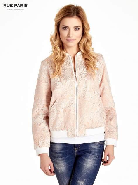 Kurtka bomber jacket z żakardowego materiału przeplatanego nicią w kolorze różowego złota                                  zdj.                                  1
