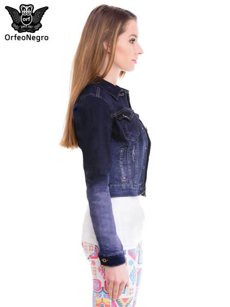Kurtka jeansowa damska z efektem ombre w kolorze granatowym                                  zdj.                                  3