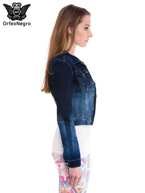 Kurtka jeansowa damska z efektem ombre w kolorze indygo                                  zdj.                                  3