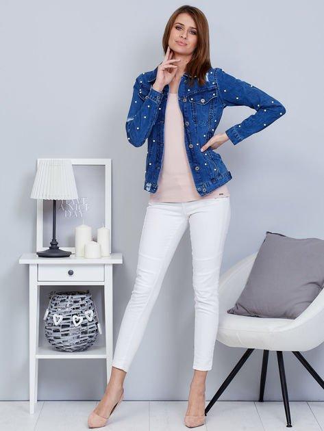 Kurtka jeansowa niebieska z perełkami                                  zdj.                                  4