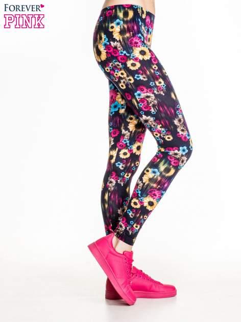 Kwiatowe legginsy w kolorze różowym                                  zdj.                                  3