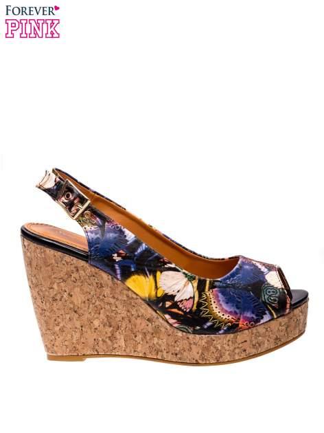 Kwiatowe sandały peep toe na koturnie korku