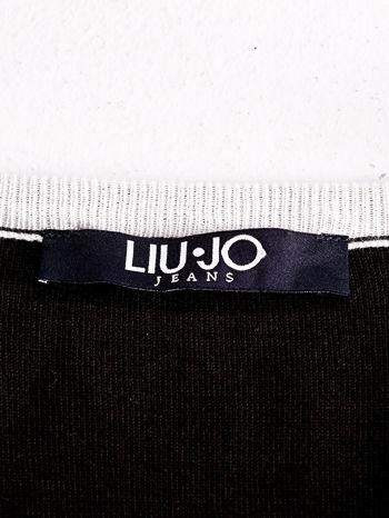 LIU JO Ciemnobrązowy sweter z trójkątnym dekoltem                                  zdj.                                  4