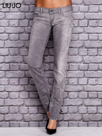 LIU JO Szare spodnie jeansowe z kwiatowym nadrukiem                                  zdj.                                  1