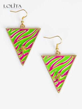 LOLITA Kolczyki damskie złote trójkąty z wzorem kolorowej zebry
