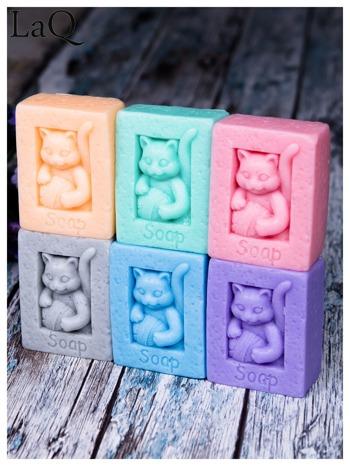 LaQ Mydełko Kot z kłębkiem wełny - różowy / Zapach - truskawka BEZ SLS i SLES                              zdj.                              4