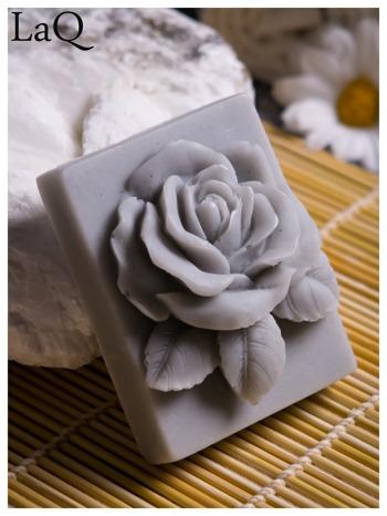 LaQ Mydełko Róża w prostokącie - szary / Zapach - wata cukrowa BEZ SLS i SLES                                  zdj.                                  6