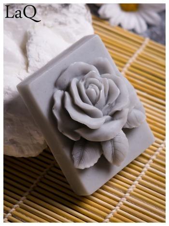 LaQ Mydełko Róża w prostokącie - szary / Zapach - wata cukrowa BEZ SLS i SLES                                  zdj.                                  2