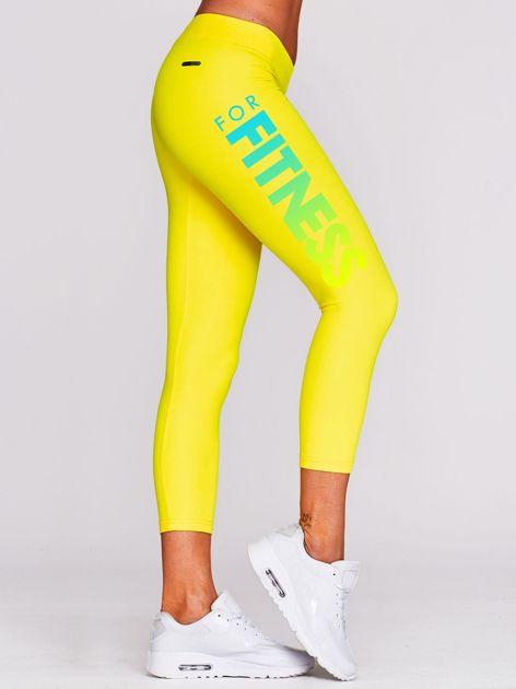 Legginsy na siłownię z nadrukiem napisu żółte                                  zdj.                                  1