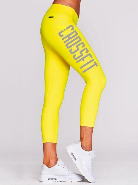 Legginsy na siłownię z napisem CROSSFIT żółte                                  zdj.                                  1