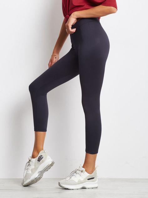 Lekko ocieplane grafitowe legginsy fitness o długości 7/8                              zdj.                              3