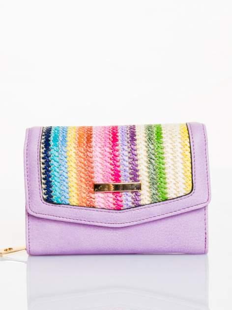 Liliowy portfel z plecionką