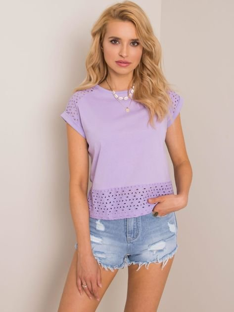 Liliowy t-shirt Hessy RUE PARIS