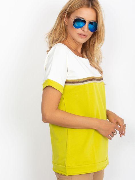 Limonkowa bluzka z dekoltem na plecach                              zdj.                              3