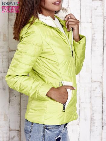 Limonkowa pikowana kurtka z jasnym wykończeniem                                  zdj.                                  3