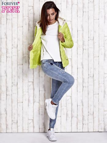 Limonkowa pikowana kurtka z jasnym wykończeniem                                  zdj.                                  7